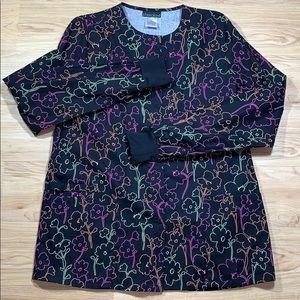 Cherokee Multi Colored Floral Scrub Top